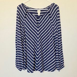 Chico's long sleeve navy blue & white stripe blous